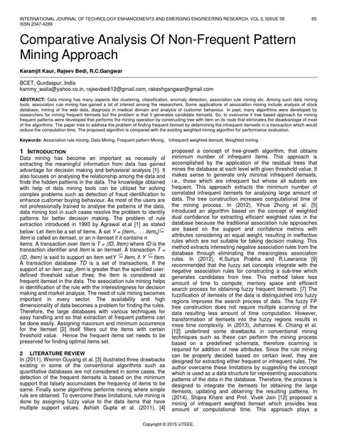 Comparative analysis of non frequent pattern mining