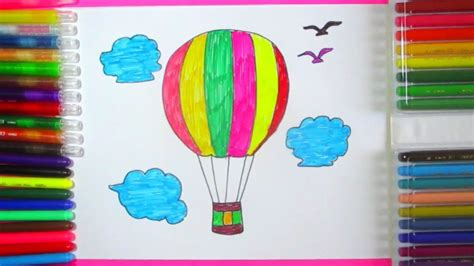 draw and color how to draw air balloon parachute drawing ideas for