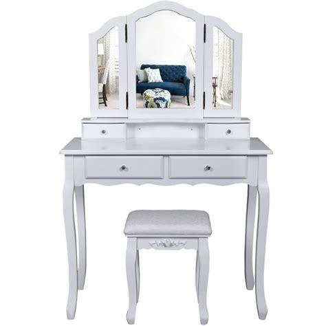 la boutique en ligne coiffeuse bois avec 3 miroirs 4 tiroirs et tabouret table maquillage blanc