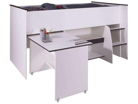 lit superposé avec bureau intégré conforama lit surélevé combiné moby coloris blanc et vente de