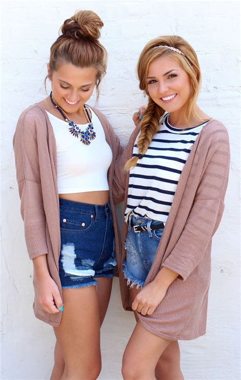 Best friend photoshoot - denim high waisted shorts - mocha cardigan - back to school outfit ...