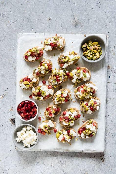 pistachio feta and pomegranate crostini recipe recipes from a pantry