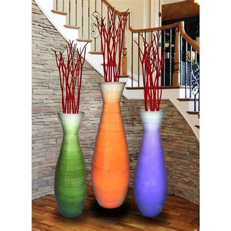 Uniquewise Tall Bamboo Floor Vases in Orange, Purple and