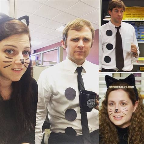 Halloween Couple Costume 3 Hole Punch Jim And Pam As A Cat