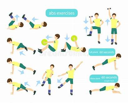 Workout Exercises Arms Children Exercise Illustration Abs