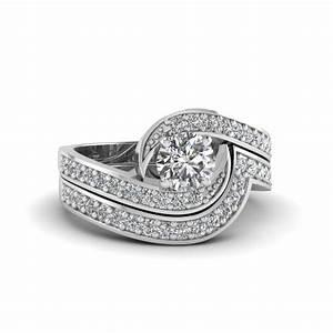 round cut swirl pave diamond wedding ring sets in 14k With swirl wedding ring sets