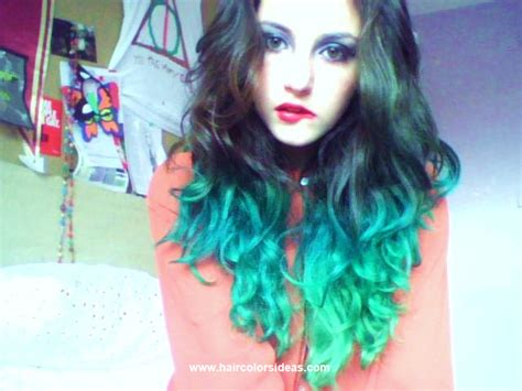 Dip Dyed Green And Turquoise Hair Hair Colors Ideas