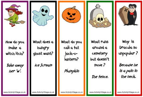 Halloween Jokes Riddles Adults by From The Heart Up Free Halloween Bookmarks