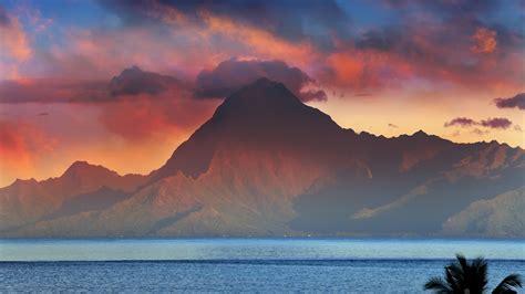 Winter Landscape Desktop Wallpaper Mountain Orohena At Sunset Tahiti French Polynesia Windows 10 Spotlight Images