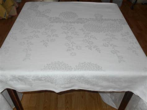 irish damask table linens 119x70 vintage antique formal white irish linen double