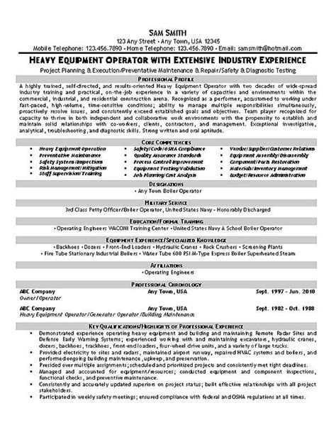 Extensive Resume Template by This Equipment Operator Resume Sle With Extensive Industry Experience