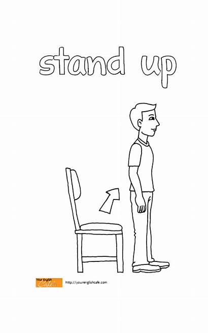 Stand Coloring Pages Sit Down Flashcards English