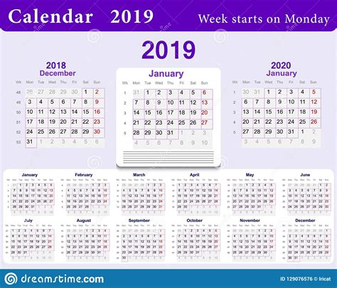 calendar grid    english language wall template