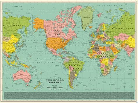 carte du monde murale plastifiee dorothy carte murale world song map carte du monde des titres de chansons
