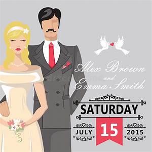 Cute Cartoon Bride And Groom.Wedding Invitation Stock ...
