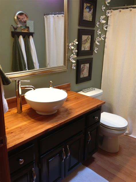 Bathroom Sink Blocked by New Butcher Block Countertop With Vessel Sink I Painted