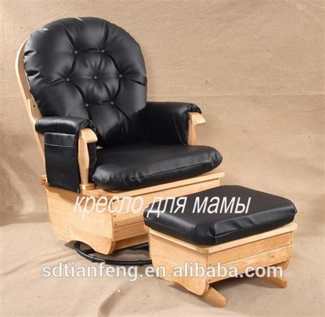 wooden leisure recliner glider chair with ottoman black