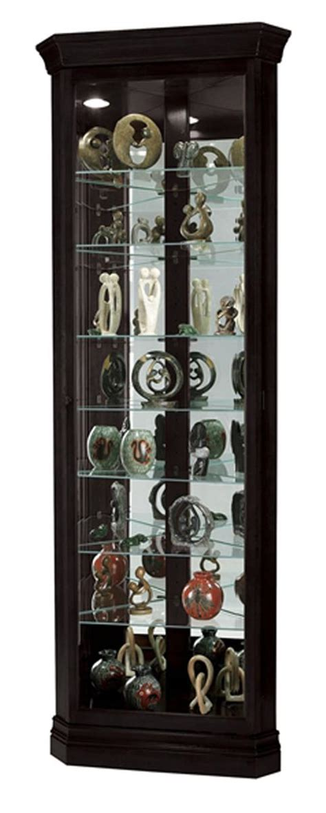 locking curio cabinet black corner curio cabinet top lighting glass shelves 3835