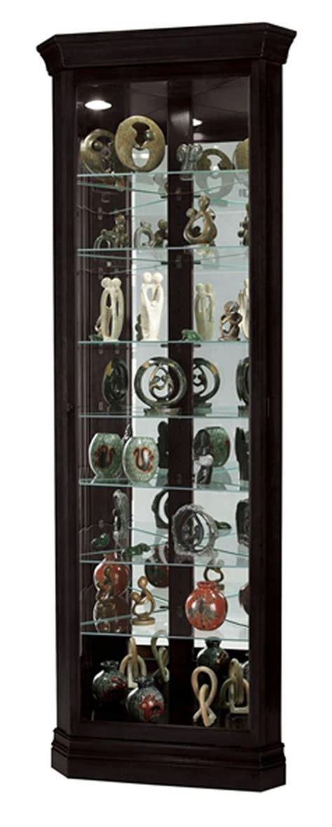 Black Corner Curio Cabinet  Top Lighting, Glass Shelves