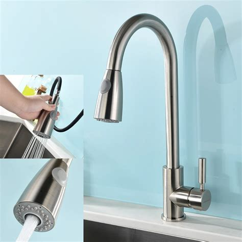 modern kitchen faucets stainless steel modern single handle stainless steel pull out spray