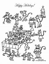 Coloring Mouse Feast Party Holiday sketch template