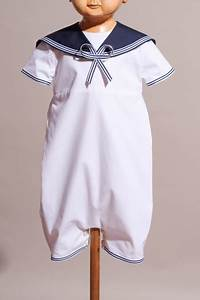 barboteuse style marin en popeline blanche sur mesure With robe de bapteme originale