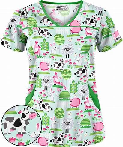 Scrubs Scrub Tops Animal Cow Nursing Mint