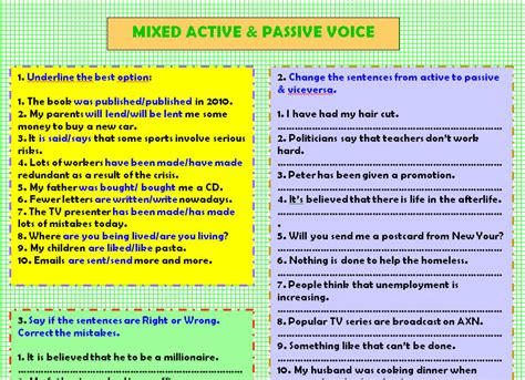 Passive voice is used in sentences in which the object affected by the action or situation becomes the subject. Mixed Active & Passive Voice Worksheet