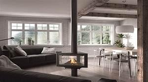 Cheminée Centrale Prix : chemin e 27 centrale avec un large foyer triangulare ~ Premium-room.com Idées de Décoration