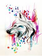Watercolor Wolf Design  on ebay  by Lucky978 on DeviantArt  Colorful Wolf Painting