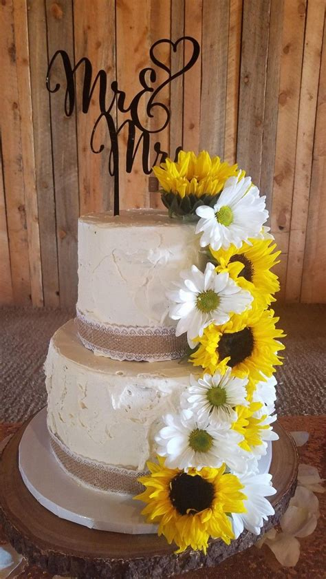 2 Tier Rustic Sunflowers Daisies Wedding In 2019