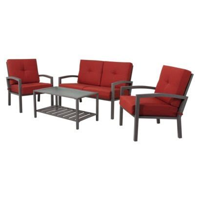 Red Patio Furniture Target by Threshold Smithwick 4 Piece Metal Patio Conversation