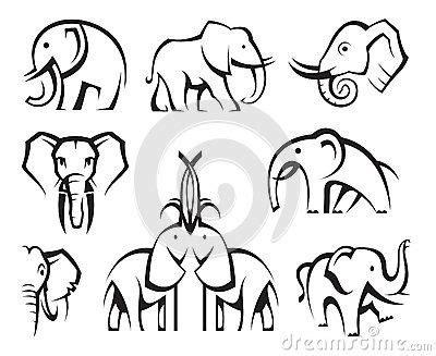 elephants set  images elephant icon elephant art