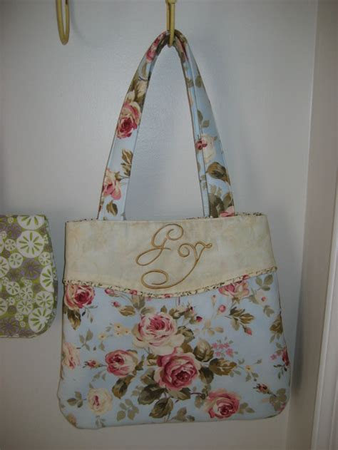 shabby chic sewing projects shabby chic monogrammed handbag sewing projects burdastyle com