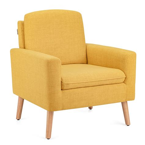 The chesterfield sofa is known for its quilted or tufted style. Costway Modern Accent Arm Chair Upholstered Fabric Single Sofa w/Rubber Wood Legs Yellow\Beige ...