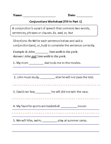 20 best images of free conjunction worksheets grade