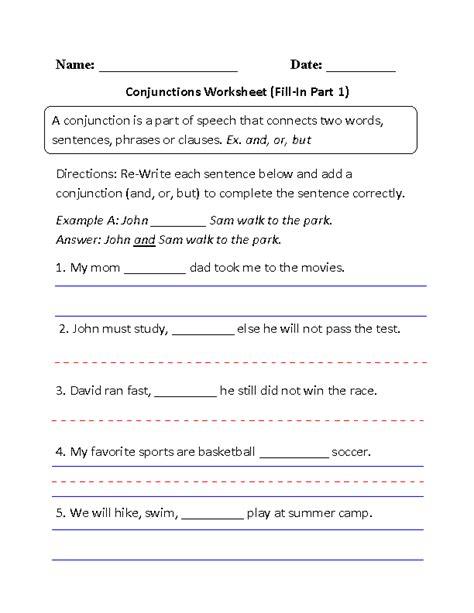 conjunction worksheets for 2nd graders 20 best images of free conjunction worksheets first grade