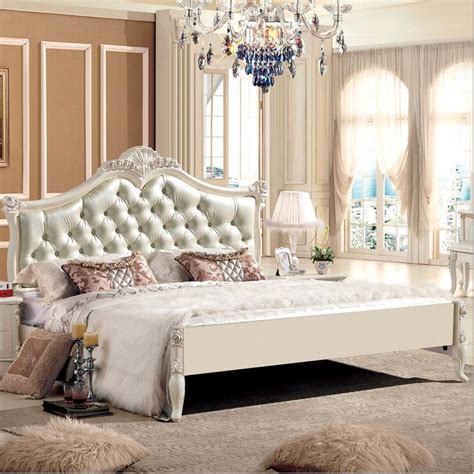king size leather modern european solid wood bed fashion