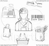 Cash Credit Card Register Cashier Clipart Bar Bag Royalty Grayscale Sketched Groceries Payment Code Around Illustration Female Vector Sm Clip sketch template