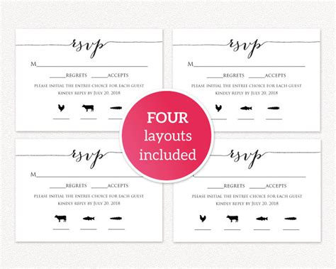 rsvp card  meal icons wedding templates  printables