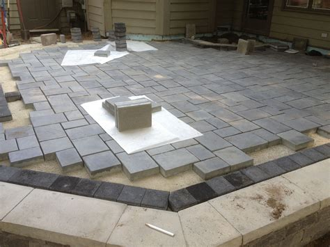 cost of unilock pavers work in progress patio using unilock brick pavers