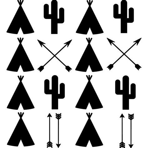 chambre style urbain sticker huttes indiens cactus et flèches