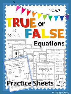 True or False Equations Practice Sheets | Math for First ...