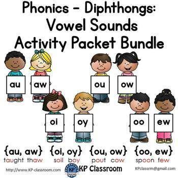 diphthongs au aw oi oy ou ow oo ew vowel sounds activity