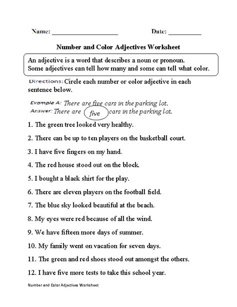 number and color adjectives worksheet part 1 englishlinx