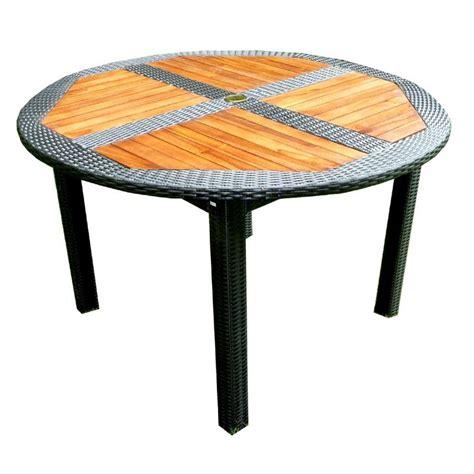 table ronde en resine tressee table de jardin en teck en r 233 sine tress 233 e ronde pliante