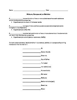 mixture compound or solution worksheet with answers by