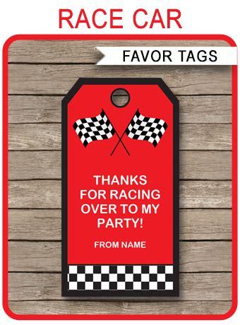race car party favor tags   tags