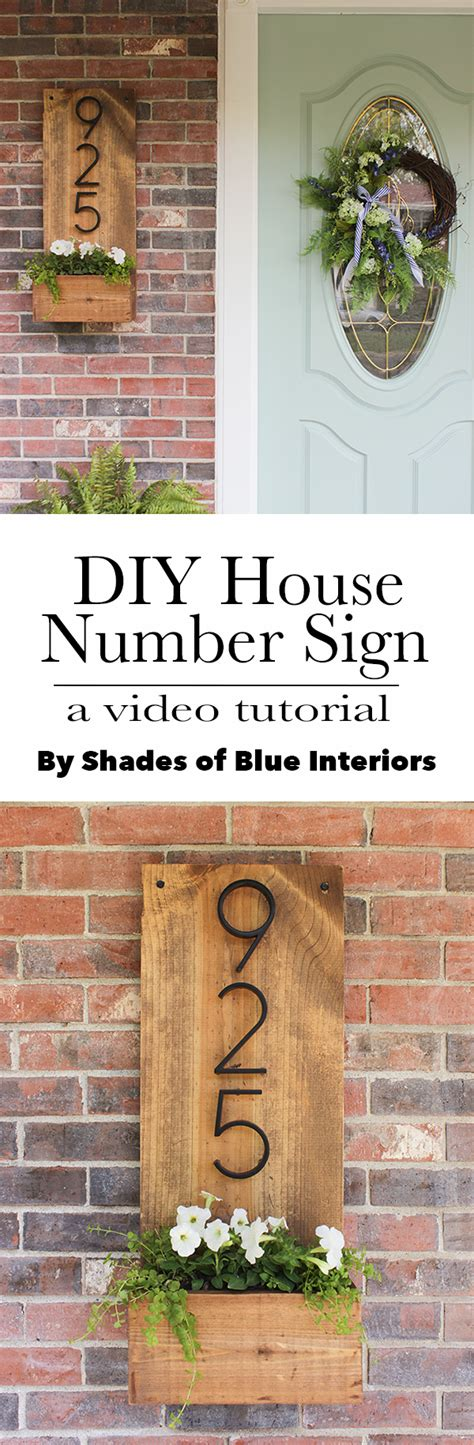 diy house number sign shades  blue interiors