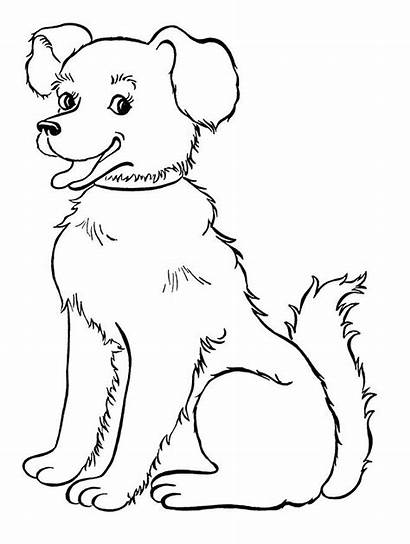 Coloring Dogs Pages Dog Printable Children Smiling